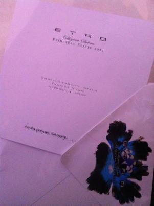 invito Etro (Milan Fashion Week settembre 2012)